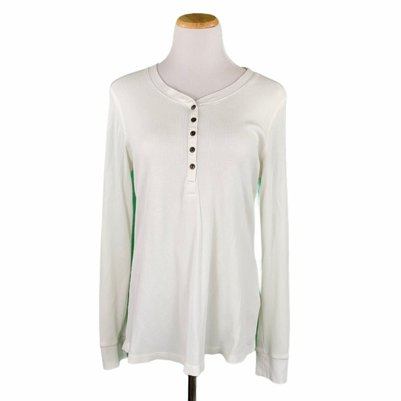 Natural Reflections White Henley Long Sleeve Tee